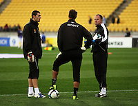 Assistant coach Jonathan Gould (right) with goalkeepers Reece Crowther (left) and Mark Paston during the A-League football match between Wellington Phoenix and Perth Glory at Westpac Stadium, Wellington, New Zealand on Sunday, 16 August 2009. Photo: Dave Lintott / lintottphoto.co.nz