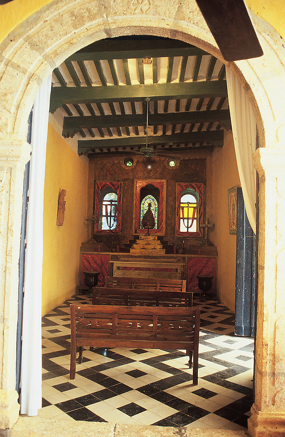 the chapel at luxury hotel Katanchel is a 45 minute drive from the city of Merida in Yucatan.  It has been meticulously restored to its original splendor when it was an Hacienda that produced rope from the henequén cactus, a type of agave. Mexico 07-02