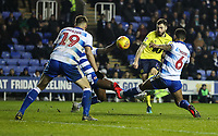 Blackburn Rovers' Ben Brereton shoots under pressure from Reading's Liam Moore and Matt Miazga<br /> <br /> Photographer Andrew Kearns/CameraSport<br /> <br /> The EFL Sky Bet Championship - Reading v Blackburn Rovers - Wednesday 13th February 2019 - Madejski Stadium - Reading<br /> <br /> World Copyright © 2019 CameraSport. All rights reserved. 43 Linden Ave. Countesthorpe. Leicester. England. LE8 5PG - Tel: +44 (0) 116 277 4147 - admin@camerasport.com - www.camerasport.com