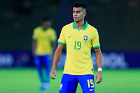 ARMENIA, COLOMBIA - JANUARY 19: Brazil's Reinier looks on during his CONMEBOL Pre-Olympic soccer game against Peru at Centenario Stadium on January 19, 2020 in Armenia, Colombia. (Photo by Daniel Munoz/VIEW press/Getty Images)