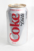 A Coke Diete can over a white background