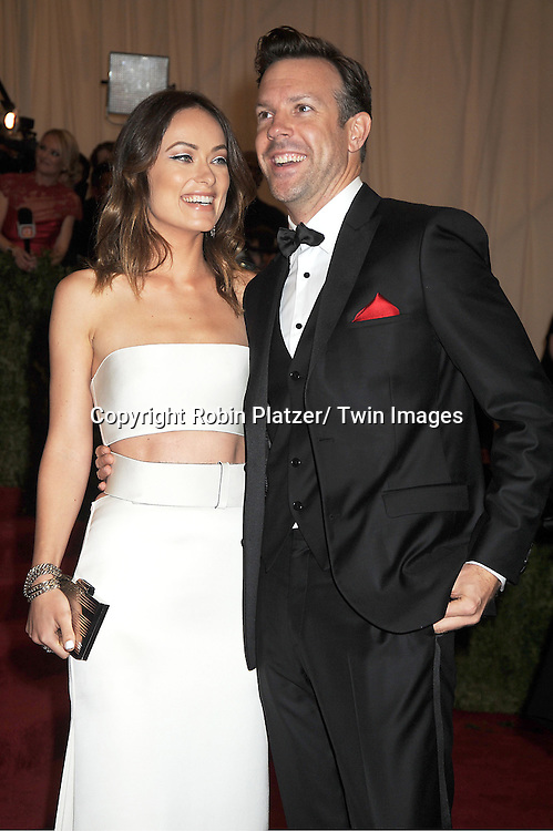 Olivia Wilde and Jason Sudeikis attends  the Metropolitan Museum of Art Costume Institute Beneift celebrating the opening of  PUNK: Chaos ..to Couture on May 6, 2013 in New York City.