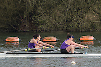 Caversham. Berkshire. UK<br /> Women's pair, Fionnuala GANNON and Georgia STATHAM, competing in the  2016 GBRowing U23 Trials at the GBRowing Training base near Reading, Berkshire.<br /> <br /> Monday  11/04/2016 <br /> <br /> [Mandatory Credit; Peter SPURRIER/Intersport-images]