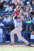 Kobie Taylor (20) of the Spokane Indians bats against the Hillsboro Hops at Ron Tonkin Field on July 22, 2017 in Hillsboro, Oregon. Spokane defeated Hillsboro, 11-4. (Larry Goren/Four Seam Images)