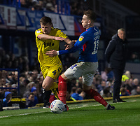 Fleetwood Town's Callum Connolly (left) battles with Portsmouth's Ronan Curtis (right) <br /> <br /> Photographer David Horton/CameraSport<br /> <br /> The EFL Sky Bet League One - Portsmouth v Fleetwood Town - Tuesday 10th March 2020 - Fratton Park - Portsmouth<br /> <br /> World Copyright © 2020 CameraSport. All rights reserved. 43 Linden Ave. Countesthorpe. Leicester. England. LE8 5PG - Tel: +44 (0) 116 277 4147 - admin@camerasport.com - www.camerasport.com