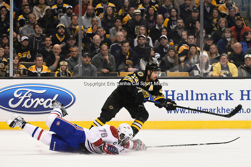 February 8, 2015 - Boston, Massachusetts, U.S. - Boston Bruins center Chris Kelly (23) and Montreal Canadiens defenseman P.K. Subban (76) in game action during the NHL game between the Montreal Canadiens and the Boston Bruins held at TD Garden in Boston Massachusetts. The Canadiens defeated the Bruins 3-1 in regulation time. Eric Canha/CSM