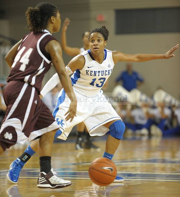 Kentucky's Bria Goss (13) applies pressure in the backcourt during the first half of the University of Kentucky Women's basketball game against Mississippi State at Memorial Coliseum in Lexington, Ky., on 1/8/12. Uk led the game at half 50-21. Photo by Mike Weaver | Staff