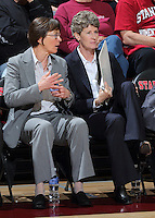 STANFORD, CA - February 27, 2014: Stanford Cardinal's Tara VanDerveer and Amy Tucker during Stanford's 83-60 victory over Washington at Maples Pavilion.