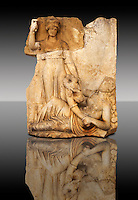 Photo of Roman releif sculpture of Roma & Ge [ Earth ] from  Aphrodisias, Turkey, Images of Roman art bas releifs. Buy as stock or photo art prints.  Black
