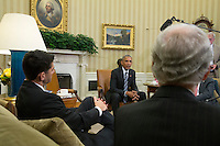 United States President Barack Obama, center, meets with Speaker of the US House Paul Ryan (Republican of Wisconsin), left, US Senate Majority Leader Mitch McConnell (Republican of Kentucky), right, and other bipartisan members of Congressional leadership to discuss a Congressional agenda and his recent trip to Asia, in the Oval Office of the White House in Washington, DC, USA, 12 September 2016.<br /> Credit: Michael Reynolds / Pool via CNP /MediaPunch