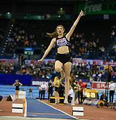 10th February 2019, Arena Birmingham, Birmingham, England; Spar British Athletics Indoor Championships; Sarah Abrams competes in the Women's long jump during Day Two of the Spar Indoor Athletics Championships at Birmingham Arena