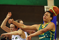 Tall Ferns forward Pip Connell and Elizabeth Cambage compete for the ball during the International women's basketball match between NZ Tall Ferns and Australian Opals at Te Rauparaha Stadium, Porirua, Wellington, New Zealand on Monday 31 August 2009. Photo: Dave Lintott / lintottphoto.co.nz
