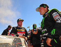 Apr 16, 2011; Surprise, AZ USA; LOORRS driver Kyle Leduc (left) and Rick Huseman (36) during round 3 at Speedworld Off Road Park. Mandatory Credit: Mark J. Rebilas-.