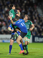 26th October 2013; Tiernan O'Halloran, Connacht wins possession ahead of Dave Kearney, Leinster. Rabodirect Pro12, Leinster v Connacht, Royal Dublin Society, Dublin. Picture credit: Tommy Grealy/actionshots.ie.