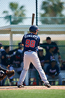 Atlanta Braves Garrison Schwartz (98) during a minor league Spring Training game against the Pittsburgh Pirates on March 13, 2018 at Pirate City in Bradenton, Florida.  (Mike Janes/Four Seam Images)