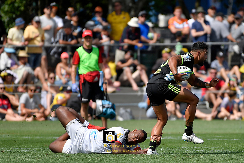 Hurricanes' Matt Proctor and Crusaders' Manasa Mataele in action during the Super Rugby Preseason - Hurricanes v Crusaders at Levin Domain, Levin, New Zealand on Saturday 2 February 2019. <br /> Photo by Masanori Udagawa. <br /> www.photowellington.photoshelter.com