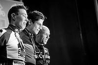 Elite Men's podium: <br /> 1/ Wout Van Aert (BEL/Crelan-Vastgoedservice)<br /> 2/ Laurens Sweeck (BEL/ERA-Murprotec)<br /> 3/ Sven Nys (BEL/Crelan-AAdrinks)<br /> <br /> 2016 Belgian National CX Championships