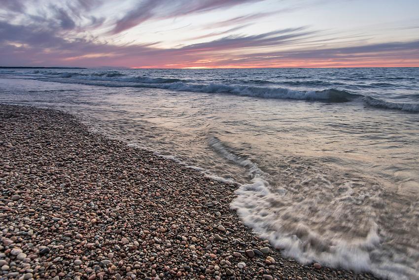 Sunset on a Lake Superior beach on Michigan's Upper Peninsula.