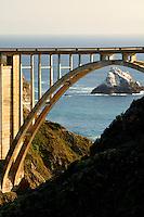 Bixby Bridge and Highway 1 along the Central Coast, Big Sur, California.
