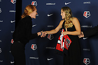 BALTIMORE, MD - JANUARY 16: Tori Huster and Ashley Sanchez during the 2020 NWSL College Draft at the Baltimore Convention Center on January 16, 2020 in Baltimore, Maryland.