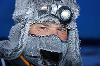 Wednesday  March 10 , 2010  Volunteer veterinarian Norbert Gaulton of Brisbane, Australia waits for teams in the morning at the Nikolai checkpoint at 25 below zero.