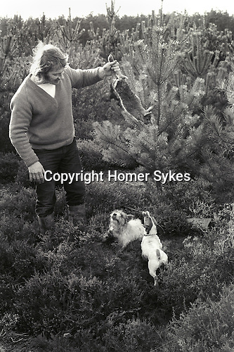 "Suffolk, man out rabbit shooting with two rough hair Jack Russell dogs. He told me he normally gets about eight rabbits in an hour or so, and sells them to his local skin merchant for eight shillings each. ""Its a good living."" he said.  1970s..."
