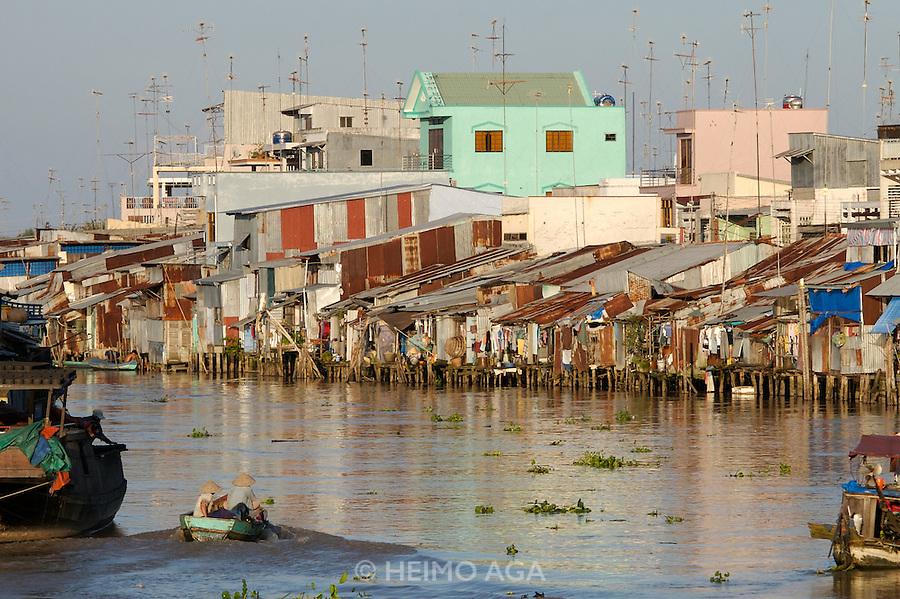Rach Gia. Houses on stilts along Cai Lon River.