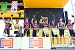 Leading team BMC Racing Team at sign on before the start of Stage 4 of the 2018 Tour de France running 195km from La Baule to Sarzeau, France. 10th July 2018. <br /> Picture: ASO/Alex Broadway | Cyclefile<br /> All photos usage must carry mandatory copyright credit (&copy; Cyclefile | ASO/Alex Broadway)