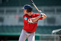 Boston Red Sox center fielder Nick Decker (46) at bat during a Florida Instructional League game against the Baltimore Orioles on September 21, 2018 at JetBlue Park in Fort Myers, Florida.  (Mike Janes/Four Seam Images)