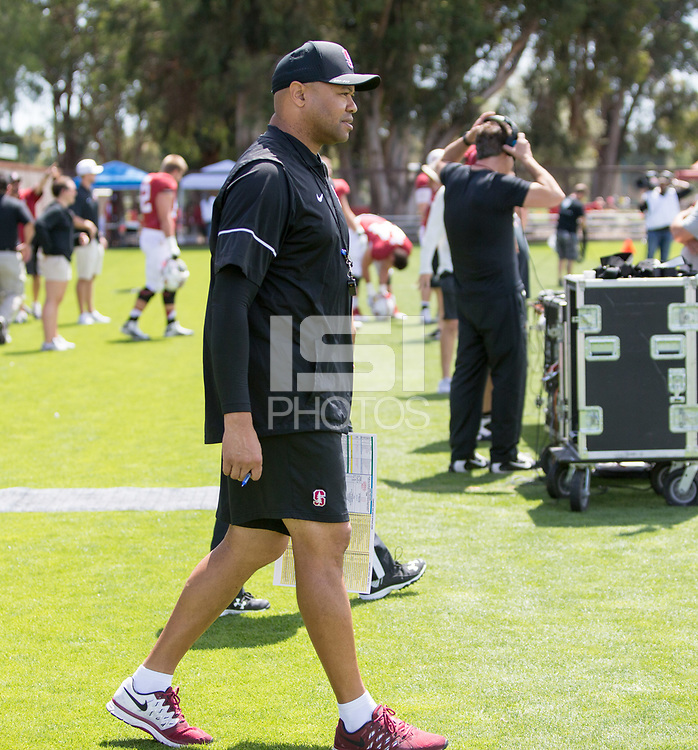 Stanford, CA - April15, 2017:  Coach David Shaw at Cagan Stadium.