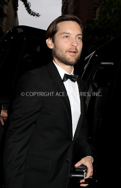 WWW.ACEPIXS.COM . . . . .  ....May 7 2012, New York City....Tobey Maguire leave a hotel on the way to the Met Gala on May 7 2012 in New York City....Please byline: NANCY RIVERA- ACEPIXS.COM.... *** ***..Ace Pictures, Inc:  ..Tel: 646 769 0430..e-mail: info@acepixs.com..web: http://www.acepixs.com