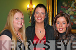 Majella O'Sullivan, Sara Doyle Firies and Mairead Foley Ballyhar looking pretty at the Firies GAA social in the Dromhall Hotel Killarney on Friday night.   Copyright Kerry's Eye 2008
