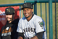 Augusta GreenJackets relief pitcher Franklin Van Gurp (right) prior to the game against the Greensboro Grasshoppers at First National Bank Field on April 10, 2018 in Greensboro, North Carolina.  The GreenJackets defeated the Grasshoppers 5-0.  (Brian Westerholt/Four Seam Images)