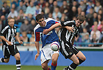 Carlisle United 1 Newcastle United 1, 21/07/2007. Brunton Park, Pre-season Friendly. Newcastle United's Paul Huntington (right) in action in a pre-season friendly against Carlisle United's Danny Graham at the Cumbrian's Brunton Park ground. The match ended one goal each with Newcastle equalising Danny Livesey's opener through Nolberto Solano in the last minute. During the 2007-08 season Carlisle played in League One, English football's third tier, while Newcastle were a top Premiership team. Photo by Colin McPherson.