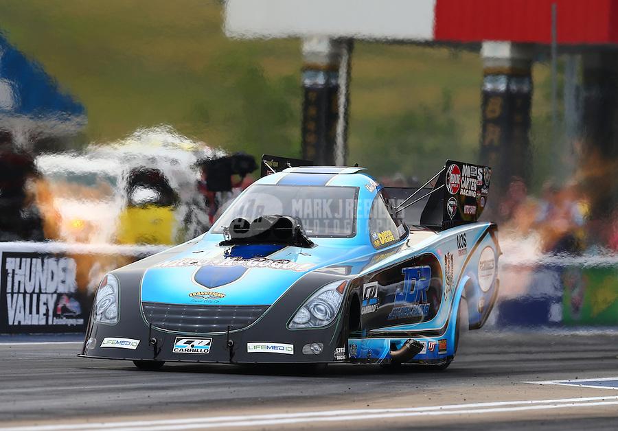 Jun 19, 2015; Bristol, TN, USA; NHRA funny car driver Jeff Diehl during qualifying for the Thunder Valley Nationals at Bristol Dragway. Mandatory Credit: Mark J. Rebilas-