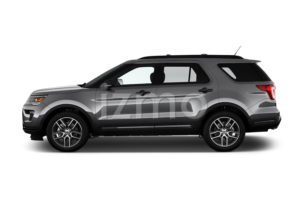 Car driver side profile view of a 2018 Ford Explorer Sport 5 Door SUV
