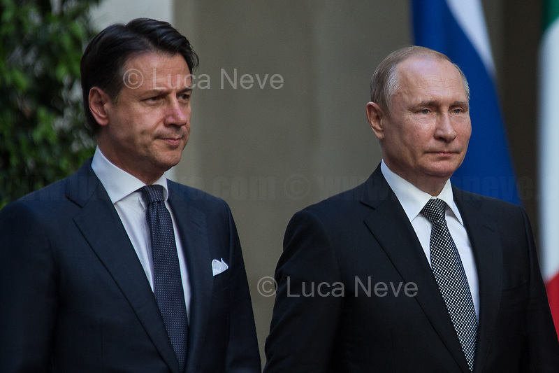 (From R to L) Vladimir Putin and Giuseppe Conte.<br /> <br /> Rome, 04/07/2019. Today, the four-time President of the Russian Federation, Vladimir Putin, visited Palazzo Chigi (Official Residence of the Italian Prime Minister and official meeting place of the Council of the Ministers) where he had a private meeting and a press conference with the Italian Prime Minister, Giuseppe Conte. During his visit to Italy, President Putin met Pope Francis, the President of the Italian Republic, Sergio Mattarella, and his old friend and Italian politician, Silvio Berlusconi.<br /> <br /> Footnotes and Links:<br /> For a Video of the Press Conference please click here (Source, Palazzo Chigi on Youtube): https://youtu.be/4Bdssi0L9PI