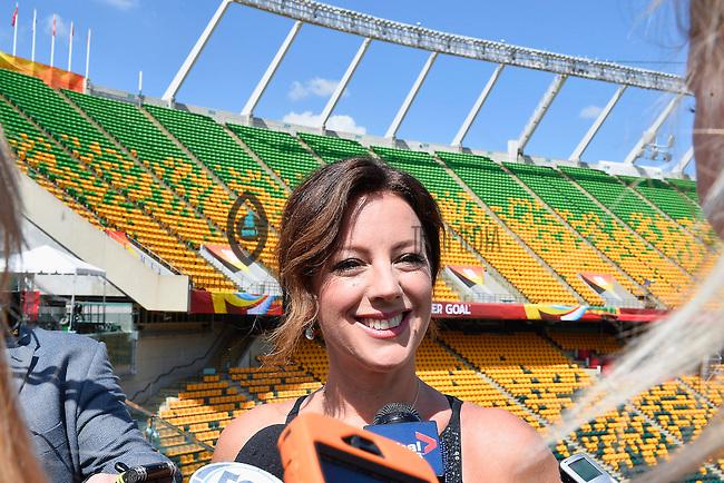 Grammy Award winner Canadian singer Sarah McLachlan speaks to the media on the even of opening Women's World Cup Soccer match, Friday June 05, 2015 in Edmonton, Alberta. (Mo Khursheed/TFV Media via AP Images)