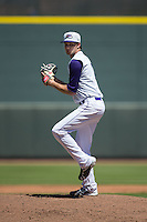 Winston-Salem Dash starting pitcher Spencer Adams (12) in action against the Salem Red Sox at BB&T Ballpark on April 17, 2016 in Winston-Salem, North Carolina.  The Red Sox defeated the Dash 3-1.  (Brian Westerholt/Four Seam Images)