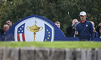 Justin Rose (Team Europe) plays to the 8th during Friday's Fourballs, at the Ryder Cup, Le Golf National, Îls-de-France, France. 28/09/2018.<br /> Picture David Lloyd / Golffile.ie<br /> <br /> All photo usage must carry mandatory copyright credit (© Golffile | David Lloyd)