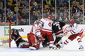 Josh Manson (NU - 3), Matt O'Connor (BU - 29), Patrick MacGregor (BU - 4), Ahti Oksanen (BU - 3), Mike McMurtry (NU - 7), Ryan Ruikka (BU - 2) - The Northeastern University Huskies defeated the Boston University Terriers 3-2 in the opening round of the 2013 Beanpot tournament on Monday, February 4, 2013, at TD Garden in Boston, Massachusetts.