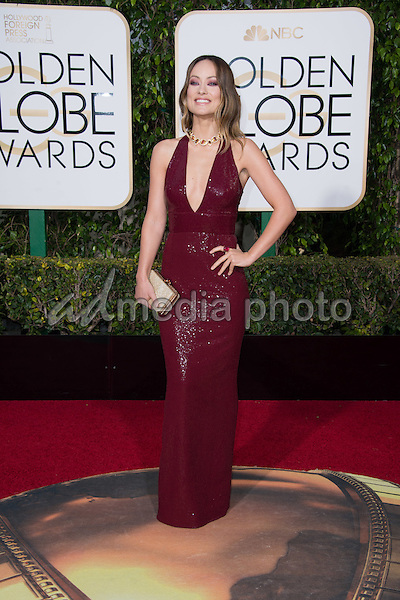 Olivia Wilde, presenter, arrives at the 73rd Annual Golden Globe Awards at the Beverly Hilton in Beverly Hills, CA on Sunday, January 10, 2016. Photo Credit: HFPA/AdMedia