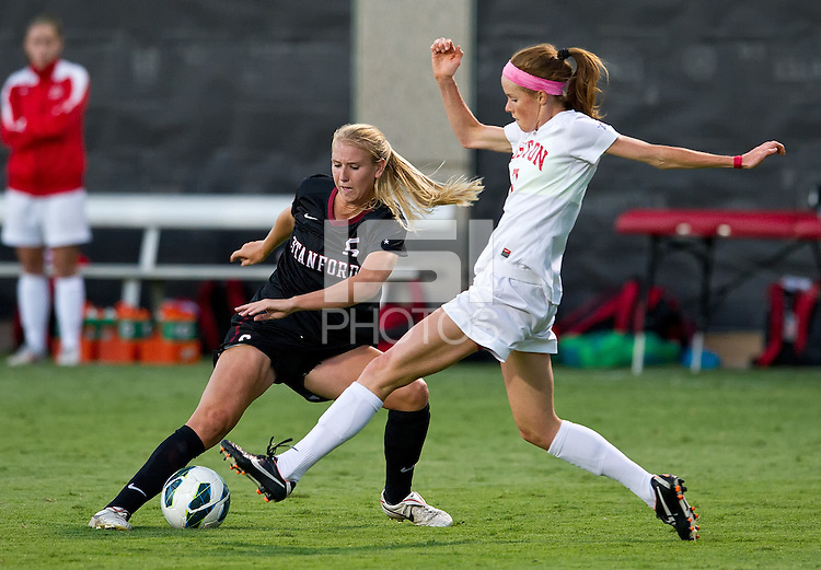 STANFORD, CA - September 7, 2012: Stanford vs Boston University in a women's soccer match in Stanford, California. Final score, Stanford 1, Boston University 0.
