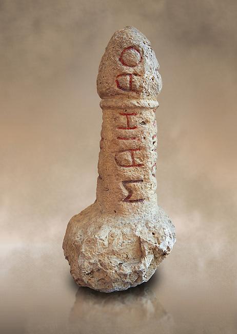 Roman erotic stone phallus  found in Pompeii,  Secret Museum or Secret Cabinet, Naples Archaeological Museum , art background