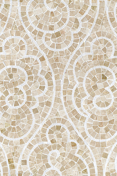 Tatewaku, a natural stone hand cut mosaic shown in Botticino and polished Calacatta Tia, is part of the Silk Road Collection by Sara Baldwin for New Ravenna Mosaics. <br />