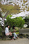 Two girls eating lunch on a bench at Himeji Castle during Sakura Matsuri, the annual Cherry Blossom Festival