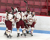 Andie Anastos (BC - 23), Kali Flanagan (BC - 10), Serena Sommerfield (BC - 3), Kenzie Kent (BC - 12), Makenna Newkirk (BC - 19) -  The Boston College Eagles defeated the University of Vermont Catamounts 4-3 in double overtime in their Hockey East semi-final on Saturday, March 4, 2017, at Walter Brown Arena in Boston, Massachusetts.