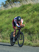 Finn Fisher-Black (Tasman Wheelers) Under 19 men time trials. Time trials on Day One of the 2018 NZ Age Group Road Cycling Championships in Carterton, New Zealand on 20 April 2018. Photo: Dave Lintott / lintottphoto.co.nz