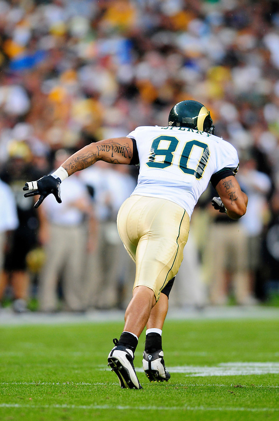 31 Aug 2008: Colorado StateTight End Kory Sperry runs a pattern against Colorado. The Colorado Buffaloes defeated the Colorado State Rams 38-17 at Invesco Field at Mile High in Denver, Colorado. FOR EDITORIAL USE ONLY