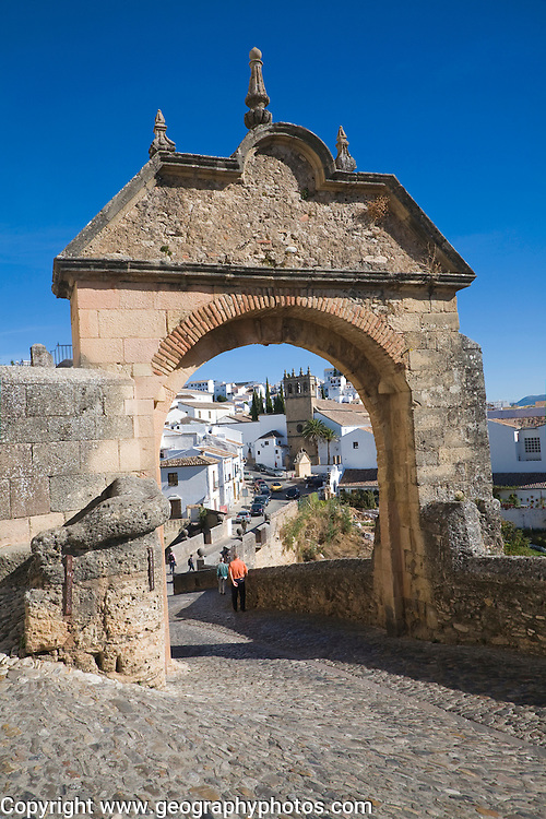 Puerta de Felipe V historic city gateway into the old city, Ronda, Spain